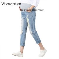 Wholesale jeans for maternity for sale - Group buy Maternity Jeans For Pregnant Women Pregnancy Denim Pants Spring Hole Trousers Belly Capris Legging Clothing Overalls Pants M39