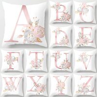 Wholesale pink floral cushions for sale - Group buy 2020 Pillow Letters Pink Floral Decorative Cushions Pillowcase Polyester Cushion Cover Throw Pillow Sofa Decoration Pillowcover