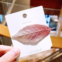 Wholesale hair cut clips for sale - Group buy Korean Inter celebrity fresh girl embroidered leaf bangs Inter Celebrity BB fashion hairpin net clip net elegant hair cutting side clip hair