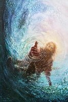 Wholesale giclee printing for sale - Group buy Yongsung Kim HAND OF GOD Canvas Giclee Art Print Jesus Reaching Hand into Water Oil Painting On Canvas Wall Art Home Decor