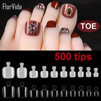 Wholesale false nails for toes resale online - Florvida Kit False Nail Tips Acrylic Fake Nails For Toes Plastic Natural Transparent Design for Nail Art Manicure Set