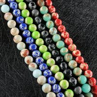 Wholesale loose turquoise beads resale online - loose Pine stone agate Yiwu jade DIY accessories semi finished Diy turquoise Agate Pine stone buttons natural string Emperor beads D3Nk9