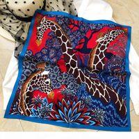 Wholesale red silk head scarf resale online - Square Silk Scarf Women Head Neck Scarfs France Small Scarves Animal Print cm cm