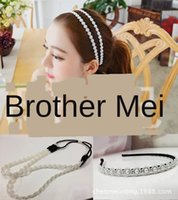 Wholesale gold clearance for sale - Group buy hair artificial style Clearance beautiful Korean Pearl Pearl Double Row women s all match band hair band P5RXl