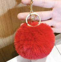 Wholesale Fur ball key chain Fur ball heart bag pendant plush car pendant