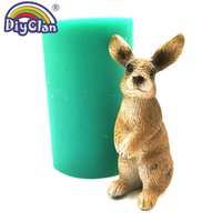 Wholesale candles animal shapes resale online - 3D Simulation Rabbit Silicone Mold For Cake Decorating Easter Bunny Candle Making Form Animal Shape Plaster Resin