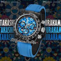 Wholesale mens wooden watches resale online - WWF CronusArt X ETA A7750 Automatic Chronograph Mens Watch DIW Black Forged Carbon Sun Smiley Blue Dial Blue Nylon Best Edition Puretime