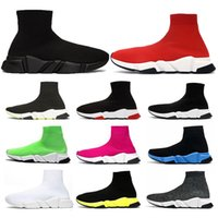 stretch sneakers groihandel-Socken Schuhe Speed ​​Trainer Runner Triple Black Stretch Glitter Paris Fashion Klar Sole Frauen Mens-beiläufige Turnschuh-Plattform Trainer