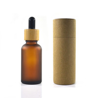 100pcs 30ml frosted amber glass bottle with bamboo cap with paper tube packaging scale dropper