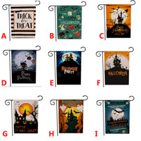 флаги для сада оптовых-Halloween Linen Yard Garden Flag Trick Treat Ghost Happy Garden Decoration Flag Outdoor Double-sided 9 Style Free DHL HH9-3279