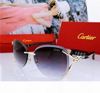 Wholesale high quality rimless glasses for sale - Group buy Top Luxury Qualtiy New Fashion Women rimless Sunglasses Vintage Metal Thick glass mirror Sun Glasses High Quality Star style With Box