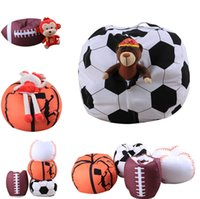 Wholesale bean bag chair resale online - Storage Bag Football Kids Stuffed Animal Plush Toy Bean Bag Basketball Pouch Stripe Fabric Chair Housekeeping Organizers T1I878