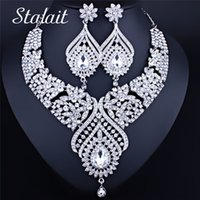 Wholesale bridesmaid jewelry sets color for sale - Group buy Gothic Dubai Silver Color Rhinestone Flower Crystal Women Bridal Jewelry Necklace Earrings Wedding Bridesmaid Jewelry Set CX200808