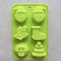 Wholesale small christmas socks resale online - DIY Cook Mould Christmas Series Gift Even Christmas Socks Small Trees Santa Claus Head Silica Gel Cake Model RRA3496