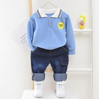 Wholesale fashion cartoon images resale online - Baby boy clothes pure cotton pieces of baby clothes fashion cartoon image printing casual lapel suit baby clothes for boys X0923