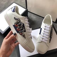 Wholesale discount mens leather casual shoes resale online - Women Casual Shoes Low Top Luxury Designer Leather Sneakers with Flower Trainers Discount Snake Tiger Mens Flats Shoes ACE Bee Embroidery