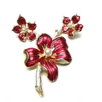 Wholesale gold mountains for sale - Group buy Fashion Fashion Baroque ear clip Baroque flower mountain flower s red enamel gold plated antique vingtage brooch ear clip kfagV