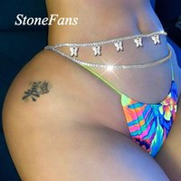 сексуальные украшения для тела  оптовых-Stonefans Sexy Body Jewelry Rhinestone Tennis for Women Beach Charm Bikini Belly Butterfly Waist Chain Belt