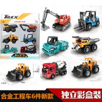 Wholesale engineering set resale online - 1 Alloy Engineering Vehicle Excavator Forklift Model Cars Set Collections Gift For Children Kids Ornaments collecti Children s gift