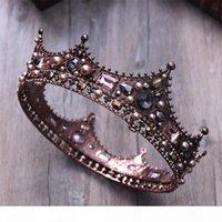 Wholesale pink tiara crown resale online - 3 style Court Retro Baroque Bridal Tiara Bride Queen King Crown Wedding Hair Jewelry Accessories Women Pageant Prom Headpiece D19011005