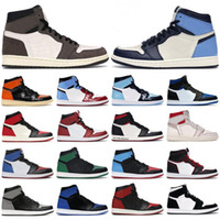 Wholesale mens' basketball shoes resale online - 2020 Mens basketball shoes s high og Obsidian Phantom Pine Turbo Green Travis Scotts Royal Toe Twist jumpman men women sports sneaker