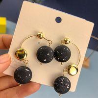 Wholesale black spiral earrings resale online - S925 Silver Needle New spot dot personalized round spiral black and and earrings white round spot earrings u0mZ9