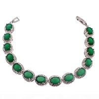 Wholesale emerald green bracelets resale online - 925 Sterling Silver Natural Green Emerald Origin Stone Tennis Links Bracelets Sparkle Cubic Zirconia Beautiful Engagement Gifts
