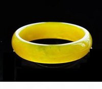 Wholesale jade bangle bracelet for sale - Group buy GENUINE asian Natural Yellow Jade Bangle Bracelet mm mm