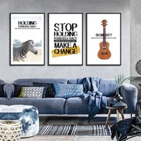 Wholesale painting guitars resale online - Home Decoration Painting Canvas Painting Guitar Letter Animal Art Nordic Living Room Background Wall Hanging Painting Frameless