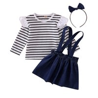 Wholesale toddler striped t shirt for sale - Group buy Kids Girls Skirts Striped Ruffle Tops Long Sleeve T shirt Infant Baby Clothes Toddler Girls Strap Dress Kids Cotton Clothing Sets