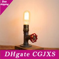 Wholesale vintage iron table lamps resale online - Retro Iron Pipe Table Lamp Ac110v v Dimmable Vintage Led Night Lamp For Bedroom Study Bar Cafe