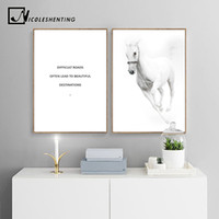 Wholesale white horses painting art for sale - Group buy White Horse Scandinavian Style Poster Motivational Quotes Wall Art Canvas Print Painting Decorative Picture Modern Home Decor