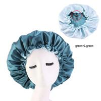 Wholesale blue bonnets resale online - 20pcs Extra Large Bonnet Long Satin Bonnet Sleep Cap Bonnets for Black Women Night Sleep Hair Loose Cap Flowers Green Black Blue Purple