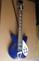 Wholesale blue hollow body electric guitar resale online - Rick Electric Guitar Pickups String Solid Mahogany Body In Blue