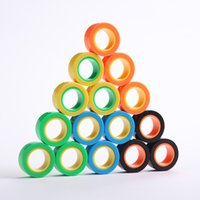 Wholesale finger gyro for sale - Group buy Magnetic Infinite Cube Decompression Toy Fidget Spinners Magnet Block Ring Finger Hand Table Rotating Finger Gyro Character Kids Toy EWA1547