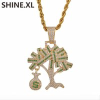 Wholesale dollar chain gold plated for sale - Group buy Designer Iced Out Dollar Tree Pendant Necklace Two Tone Micro Paved Zircon Men Gold Chain Hip Hop Jewelry