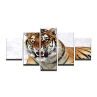 Wholesale tiger pieces art painting pictures for sale - Group buy 5 Piece Canvas Prints Wall Art Painting Tiger In Snow Forest Painting Modern Artwork Animal Pictures Photo Print On Canvas