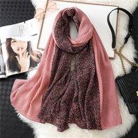 Wholesale women muslim scarf winter resale online - High Quality Women Cotton Scarf Leopard Solid Crinkle Hijab for Ladies Pashmina Shawls Muslim Head Scarves Winter Warm Bufanda