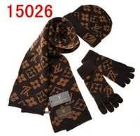 Wholesale cotton scarf embroidered resale online - Hot Sale New Fashion Winter And Autumn Warm Hat High Quality Cap Men Women Scarf Hats Knitted Hats Scarves Gloves Sets