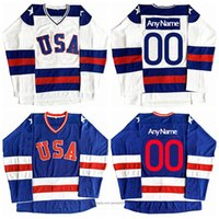 Wholesale usa hockey resale online - Custom USA Hockey Jersey Men Blue White Jerseys Embroidery All Stitched Any Name And Number And Retail Size XS XL XL XL
