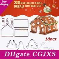 Wholesale box cutters resale online - 18pcs Set Stainless Steel Cookie Mould Christmas Theme d Diy Double Sugar Cake Pan Gingerbread House Metal Cake Cutters Mould Box Package