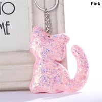 Wholesale keychains for women handbags for sale - Group buy Lovely Cat Shape Sequins Glitter Key Chain for Women Handbag Pendant Keychain Car Keyring Fashion Jewelry High Quality