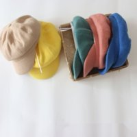 Wholesale military peak hat for sale - Group buy kp42M Korean style small children s autumn and winter candy color peaked Pointed cap cap Octagonal hat octagonal hat