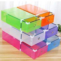 Wholesale purple designer shoes for sale - Group buy Plastic Transparent Shoes Box Thickened Storage Shoe Boxes Foldable Stackable Dust proof Drawer Sort Out Shoes Cabinet DHD1448