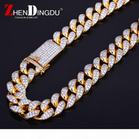 Wholesale heavy brass chain for sale - Group buy Finish Men s mm Heavy Iced Zircon Miami Cuban Link Necklace Choker Bling Bling Hip hop Jewelry Gold Silver Chain quot quot