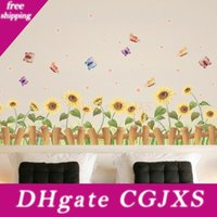 Wholesale cartoon wall painting bedroom resale online - Creative Children Room Bedroom Cartoon Decorative Painting Cute Wallpaper Home Decor Cozy Golden Sun Flower Wall Stickers Easy To Use pc