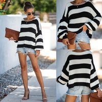 Wholesale bateau neckline tops resale online - Black and white stripes boat bateau neckline loose casual versatile top nv zhang xiu knitted Top sweater sweater