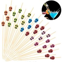 Wholesale halloween desserts for sale - Group buy 50PCS Pack Disposable Skull Bamboo Stick Halloween Party Buffet Fruit Picks Sandwich Appetizer Desserts Food Cocktail Bamboo Stick