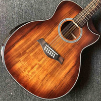 Wholesale guitar bands for sale - Group buy Custom KOA wood Top Cutaway Strings Acoustic Electric Guitar with Armrest B B Band EQ