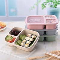 Wholesale biodegradable plastics for sale - Group buy Student Lunch Box Grid Wheat Straw Biodegradable Microwave Bento Box kids Food Storage Box School Food Containers With Lid EEA1899